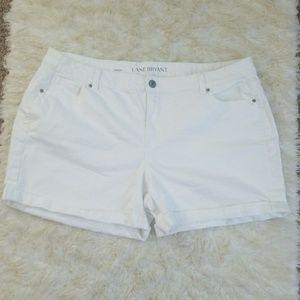 Sz 24 Shorts Stretch Denim White Plus Lane Bryant